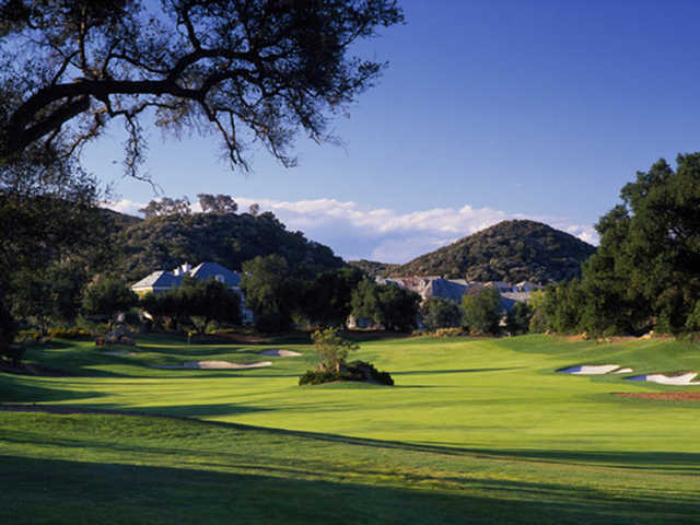 view of the 446-yard par-4, 16th green at Sherwood Country Club