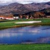 A view over the water of a hole at Vintner's Golf Club.
