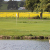 A view of a hole with yellow flowers in background at Rooster Run Golf Club.