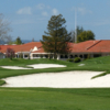 A view of the clubhouse  and tricky bunkers at Foxtail Golf Club.