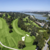 Aerial view of the par-5 16th hole at Olympic Club - Lake course