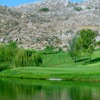A view over the water of a hole at Hemet Golf Club