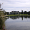 View of the clubhouse and the lake at Manteca Park Golf Course