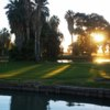 Sunset view of a green at Barbara Worth Golf Resort