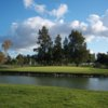 A view of hole #7 surrounded by water at Davis Golf Course