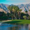 A view over the water of the 5th green at Dinah Shore Tournament from Mission Hills Country Club