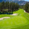 A summer view of a green at Sierra Star Golf Club