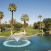 A view over the water of a hole at Indian Palms Golf & Country Club