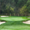 A view of green #10 surrounded by tricky bunkers at Orinda Country Club