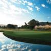 A view of green surrounded by water at Temecula Creek Inn Golf Resort