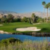 A view of a green with water and sand traps coming into play at Celebrity Course from Indian Wells Golf Resort.