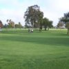 A sunny day view of a green at Meadowlark Golf Course.