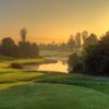 A sunset view from a tee at Oak Creek Golf Club.