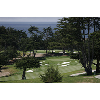 The 18th hole on the at Black Horse golf course, as seen from above, clearly brings in views of Monterey Bay now.