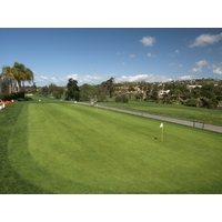 A large practice green sits behind the clubhouse at the La Costa Resort and Spa in Carlsbad.