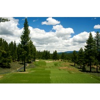 The par-3 16th hole on The Golf Club at Gray's Crossing in Truckee is a downhill shot that is 242 yards from the back tees.