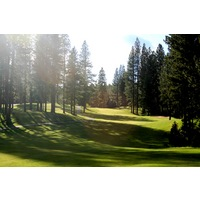 Plumas Pines Golf Resort's 18th hole is a narrow, dogleg left par 5 through trees.
