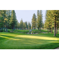 Plumas Pines Golf Resort's par-4 10th hole has a blind pond that cuts off the fairway.