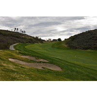 The fourth hole at Tierra Rejada Golf Club doglegs sharply right.