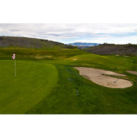 Be prepared for elevation and windy weather conditions on the fourth hole at Tierra Rejada Golf Club.