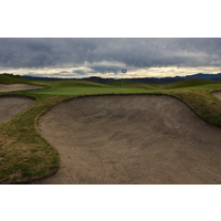 One of the bunkers near the seventh green at Tierra Rejada Golf Club.