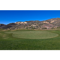 The green at the top of the hill is large on the first hole of the Sky Course at Lost Canyons Golf Club.