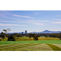 A view of the Vineyard Course at River Ridge Golf Club with the Santa Monica Mountains in the background.