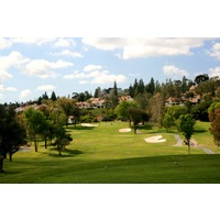 The first hole at Rancho Bernardo Inn golf course plays straightaway to an elevated green.