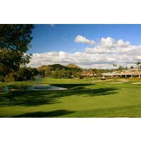 The ninth hole at Rancho Bernardo Inn golf course is a straightaway par 4 that is guarded by water on the right side of the fairway before the green.