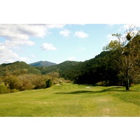 The fifth hole on the Oak Glen Course at Sycuan Golf Resort is a long par 4 that narrows toward the green.