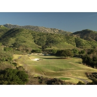 Here's the magnificent view from the tee of the 600-yard, par-5 finishing hole at Maderas Golf Club in Poway, California.