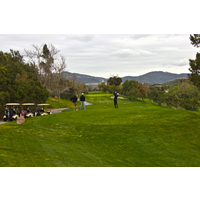A golfer tees of on the 10th hole at Twin Oaks Golf Course.