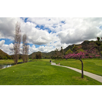 The first hole on the Oak Glen Course at Sycuan Golf Resort is a challenge.
