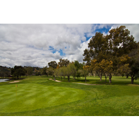 The fairway is narrow, but the green is nice on the first hole of the Oak Glen Course at Sycuan Golf Resort in El Cajon.