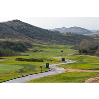 A look at the tee boxes and fairway on the par-5 opening hole at Hidden Valley Golf Club in Norco.