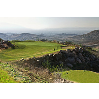 Hidden Valley Golf Club's 13th green is situated on the edge of the cliff.