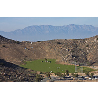 A distant look at Hidden Valley Golf Club's driving range.