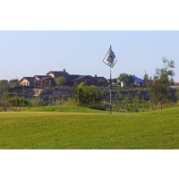 The clubhouse sits in the background at the Links at Summerly.