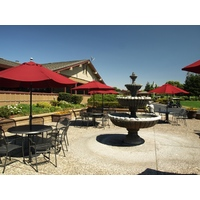 A large patio complements a spacious clubhouse at Ridgemark Golf & Country Club in Hollister, California.