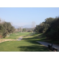 The tee shot on the par-5 16th at San Vicente Resort in Ramona, Calif.