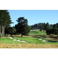 The eighth hole at Pasatiempo Golf Club is a par 3 well protected by bunkers.
