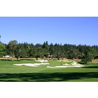 The 13th hole at Pasatiempo Golf Club is a par 5 well protected by bunkers around the green.