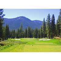 The par-3 eighth at Martis Camp can play as long as 250 yards.