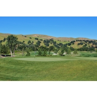 The elevated ninth green, the end of a tough par 4, provides nice views of Yocha Dehe Golf Club at Cache Creek.