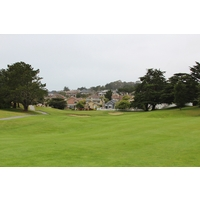 The eighth hole on the Old Course at Half Moon Bay Golf Links tumbles downhill after the tee shot.