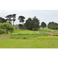 With a pond left and wetland right, the 13th hole on the Old Course at Half Moon Bay Golf Links is a dangerous par 3.