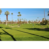 The fifth green of the North golf course at Rancho Las Palmas is severely elevated.