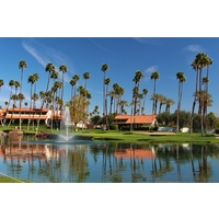 "Members call the ninth hole of the South golf course at Rancho Las Palmas ""Jaws"" for all the water in play."