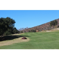 The par-5 eighth hole at Maderas Golf Club bends right and then shoots uphill.