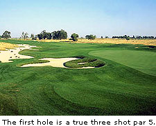 No. 1 at Stevinson Ranch's Savannah Course is surrounded by furrowed rows of corn, wheat, barley, tomatoes and even a farm that grows West Coast Turf. On the farm-to-
